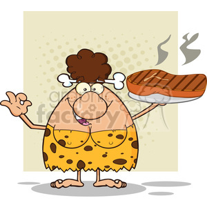 brunette cave woman cartoon mascot character holding up a platter with big grilled steak and gesturing ok vector illustration clipart. Royalty-free image # 399194