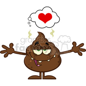 royalty free rf clipart illustration happy funny poop cartoon character with open arms and a heart vector illustration isolated on white backgrond clipart. Royalty-free image # 399234