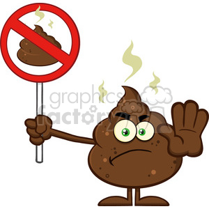 royalty free rf clipart illustration angry poop cartoon mascot character gesturing and holding a poo in a prohibition sign vector illustration isolated on white