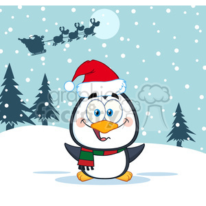 royalty free rf clipart illustration merry christmas greeting with cute penguin cartoon character vector illustration greeting card clipart. Royalty-free image # 399264