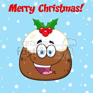 royalty free rf clipart illustration happy christmas pudding cartoon character vector illustration greeting card with text clipart. Royalty-free image # 399274