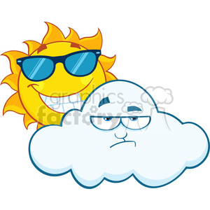 royalty free rf clipart illustration smiling summer sun with sunglasses and grumpy cloud mascot cartoon characters vector illustration isolated on white background clipart. Royalty-free image # 399294