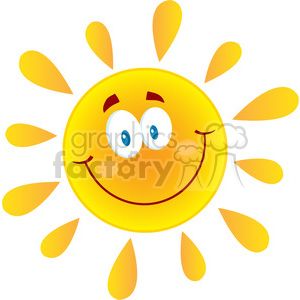 9691 royalty free rf clipart illustration happy sun cartoon mascot character vector illustration isolated on white background