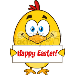 royalty free rf clipart illustration smiling yellow chick cartoon character holding a happy easter sign vector illustration isolated on white clipart. Commercial use image # 399343