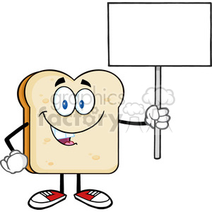 illustration smiling bread slice cartoon mascot character holding a blank sign vector illustration isolated on white background clipart. Royalty-free image # 399383