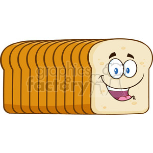 illustration smiling bread loaf cartoon mascot character vector illustration isolated on white background clipart. Royalty-free image # 399393