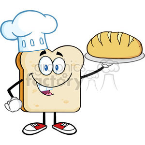 illustration chef bread slice cartoon character presenting perfect bread vector illustration isolated on white background clipart. Royalty-free image # 399423