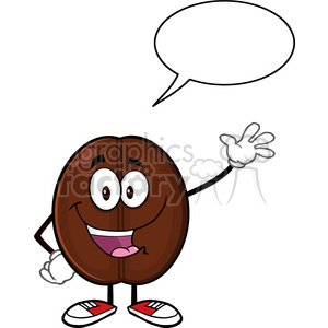 illustration happy coffee bean cartoon mascot character waving with speech bubble vector illustration isolated on white clipart. Commercial use image # 399432