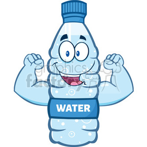illustration cartoon ilustation of a water plastic bottle cartoon character flexing his muscles vector illustration isolated on white background clipart. Commercial use image # 399442