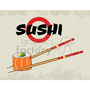 9404 illustration sushi roll with chopsticks vector illustration with text and background clipart. Royalty-free image # 399454