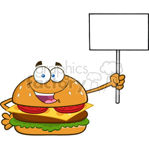 illustration burger cartoon mascot character holding a blank sign vector illustration isolated on white background clipart. Royalty-free image # 399474