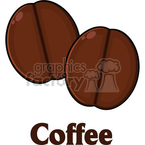 illustration two roasted coffee beans cartoon vector illustration with text isolated on white clipart. Commercial use image # 399504