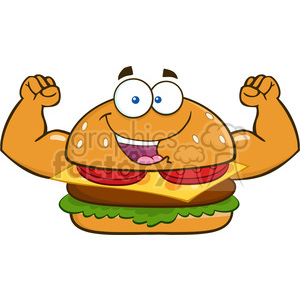 illustration funny burger cartoon mascot character flexing his muscles vector illustration isolated on white background clipart. Commercial use image # 399534