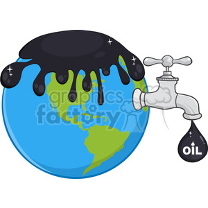 oil energy faucet drip drop character earth spill toxic money cost humanity