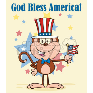 patriotic monkey cartoon character with patriotic usa hat and american flag vector illustration greeting card clipart. Royalty-free image # 399589