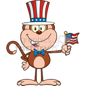 royalty free rf clipart illustration patriotic monkey cartoon character with patriotic usa hat and american flag vector illustration isolated on white clipart. Royalty-free image # 399599
