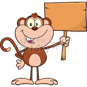 royalty free rf clipart illustration smiling monkey cartoon character holding up a blank wood sign vector illustration isolated on white clipart. Commercial use image # 399619