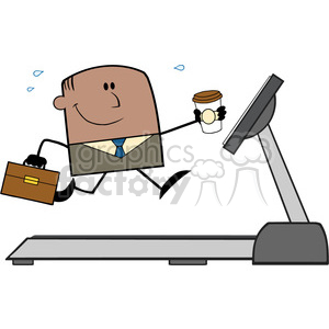 royalty free rf clipart illustration lucky african american businessman cartoon character running on a treadmill vector illustration isolated on white clipart. Royalty-free image # 399687