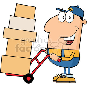 royalty free rf clipart illustration delivery man cartoon character using a dolly to move boxes vector illustration with isolated on white clipart. Commercial use image # 399707