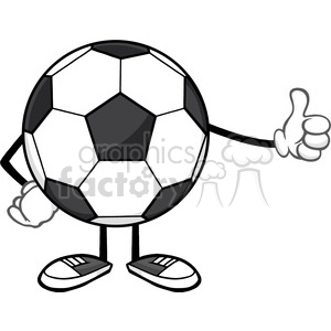 soccer ball faceless cartoon mascot character giving a thumb up vector illustration isolated on white background clipart. Royalty-free image # 399717