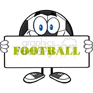 soccer ball cartoon mascot character holding a sign vector illustration with text football isolated on white background clipart. Commercial use image # 399727