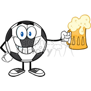 smiling soccer ball cartoon mascot character holding a beer glass vector illustration isolated on white background clipart. Royalty-free image # 399747