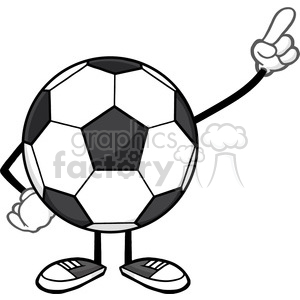 soccer ball faceless cartoon mascot character pointing vector illustration isolated on white background clipart. Royalty-free image # 399767