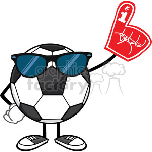 soccer ball faceless cartoon mascot character with sunglasses wearing a foam finger vector illustration isolated on white background clipart. Royalty-free image # 399777