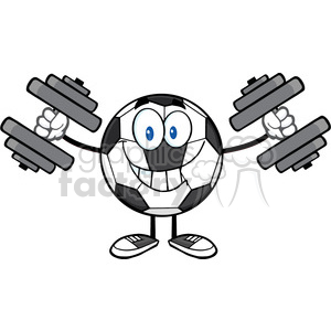 smiling soccer ball cartoon mascot character working out with dumbbells vector illustration isolated on white background clipart. Royalty-free image # 399787