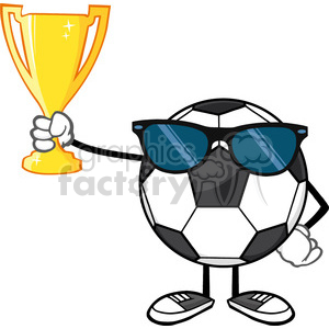winner soccer ball faceless cartoon character with sunglasses holding a golden trophy cup vector illustration isolated on white background