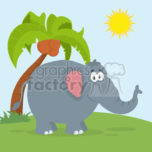smiling elephant cartoon character vector illustration flat design style clipart. Royalty-free image # 399807