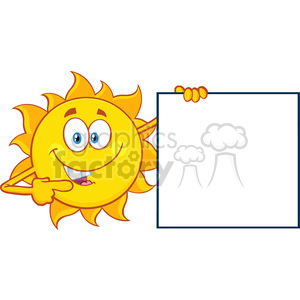 talking sun cartoon mascot character pointing to a blank sign vector illustration isolated on white background clipart. Royalty-free image # 399878