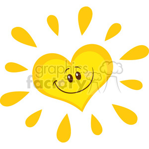 smiling sun heart cartoon mascot character vector illustration isolated on white background clipart. Commercial use image # 399918