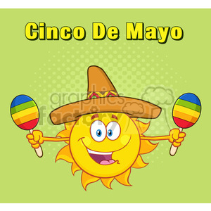 happy colorful sun cartoon mascot character with sombrero hat playing maracas vector illustration halftone background and text cinco de mayo clipart. Royalty-free image # 399948