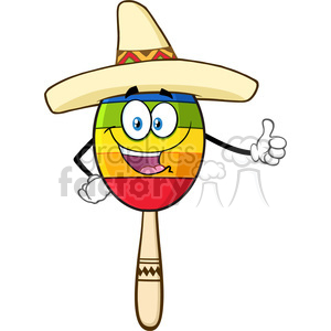 happy colorful mexican maracas cartoon mascot character with sombrero hat giving a thumbs up vector illustration isolated on white background clipart. Royalty-free image # 399958