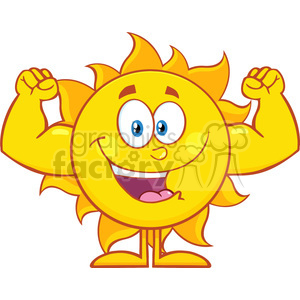 10120 happy sun cartoon mascot character showing muscle arms vector illustration isolated on white background