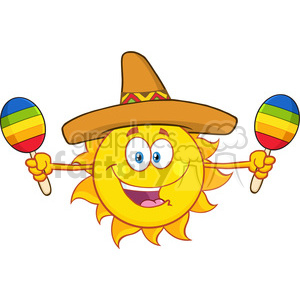 happy colorful sun cartoon mascot character with sombrero hat playing maracas vector illustration isolated on white background clipart. Royalty-free image # 399978