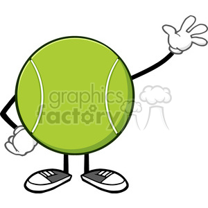tennis ball faceless cartoon character waving vector illustration isolated on white background clipart. Royalty-free image # 399988