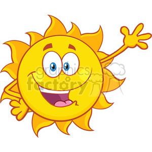 happy summer sun cartoon mascot character waving for greeting vector illustration isolated on white background clipart. Royalty-free image # 399998