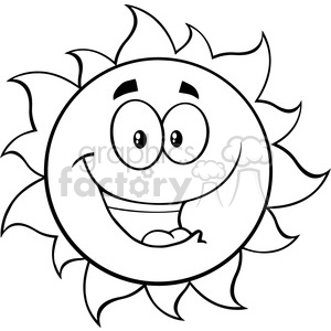 black and white happy sun cartoon mascot character vector illustration isolated on white background clipart. Commercial use image # 400008