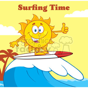 surfer sun cartoon mascot character riding a wave and showing thumb up vector illustration with background and text surfing time clipart. Royalty-free image # 400018