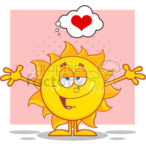 smiling sun cartoon mascot character with open arms and a heart vector illustration isolated on white background clipart. Commercial use image # 400028