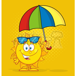 nature weather summer sun sunny cartoon sun+safety lotion sunscreen umbrella smile happy
