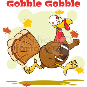 football turkey bird cartoon character running in thanksgiving super bowl vector illustration with background and text clipart. Commercial use image # 400058