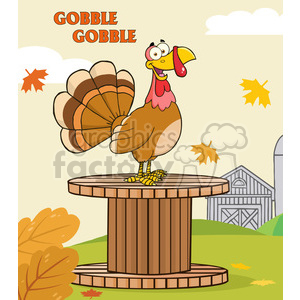 happy turkey bird cartoon character on a giant spool in a barnyard vector illustration with background and text clipart. Commercial use image # 400068