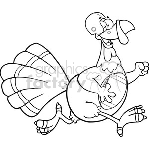 black and white football turkey bird cartoon character running in thanksgiving super bowl vector illustration isolated on white clipart. Commercial use image # 400078