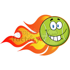 smiling tennis ball cartoon character with a trail of flames vector illustration isolated on white