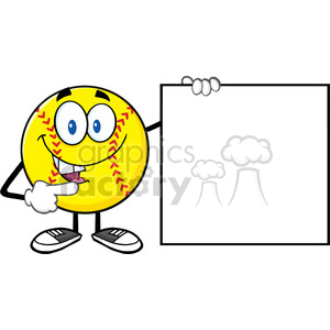 talking softball cartoon mascot character pointing to a blank sign vector illustration isolated on white background clipart. Royalty-free image # 400098