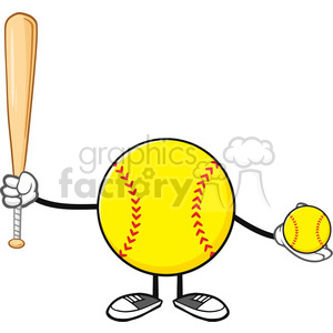 softball faceless player cartoon mascot character holding a bat and ball vector illustration isolated on white background clipart. Commercial use image # 400108