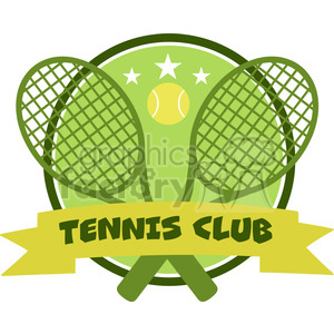 9542 crossed racket and tennis ball logo design green label vector illustration isolated on white and text tennis club